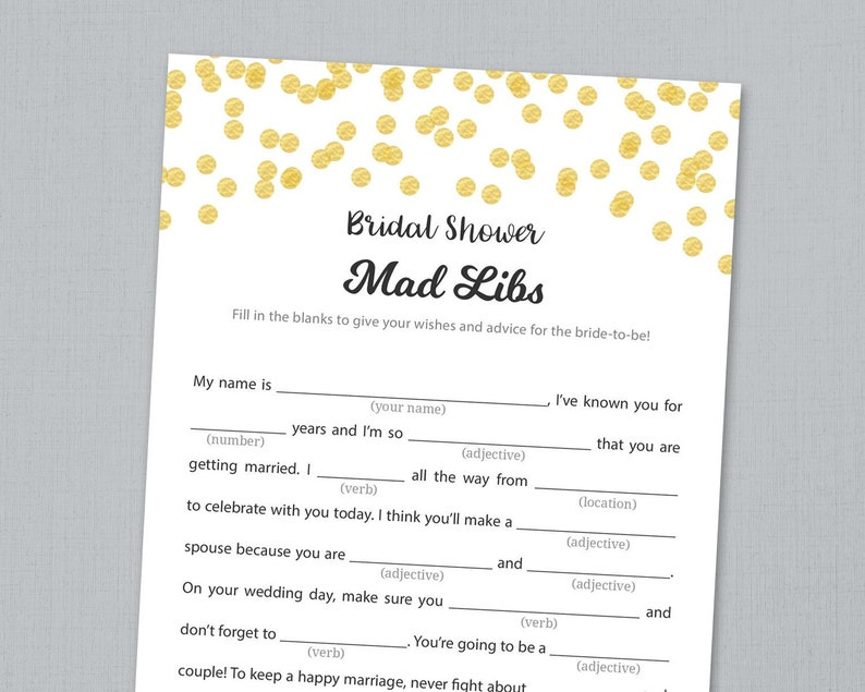 photograph regarding Bridal Shower Mad Libs Free Printable named Bridal Shower Outrageous Libs Video game Printable, Gold Glitter Confetti Bridal Nuts Libs, Prompt Down load, Bride Information Card, Wedding day Shower, A001