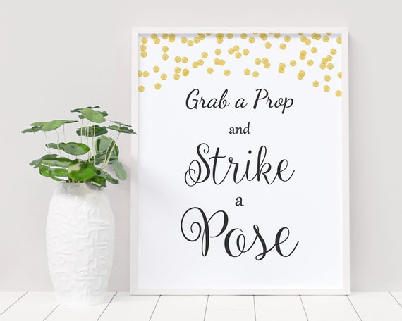 Photo Booth Sign Strike A Pose Wedding Signs Photo Props PDF Strike a Pose Sign Wedding Photos Photo Booth Sign Custom Wedding Sign