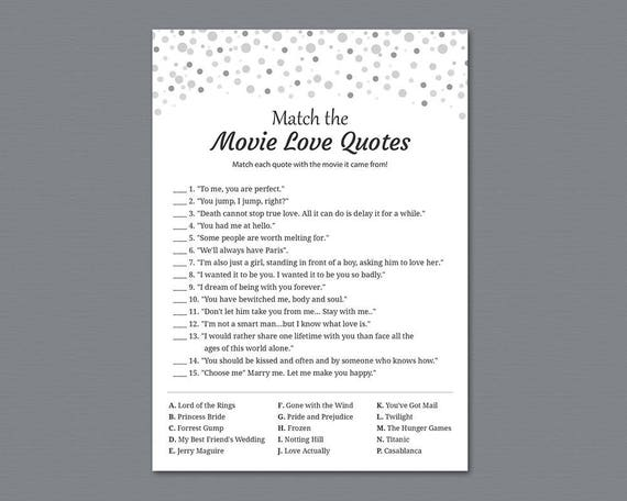 Movie Love Quotes Match Game Silver Confetti Match The Etsy