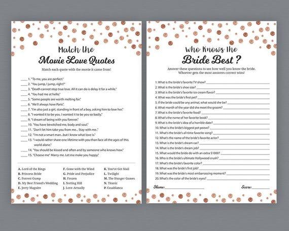 unique bridal shower games package rose gold dots wedding