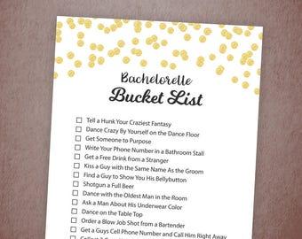 Bachelorette Party Bucket List Game Printable, Gold Confetti Bridal Shower Games, Bachelorette Game, Scavenger Hunt, Instant Download, A001