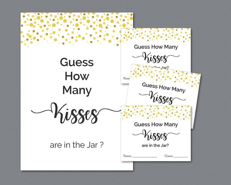 graphic relating to Guess How Many in the Jar Printable called How Quite a few Kisses within the Jar, Wager How Lots of Kisses, Gold Confetti Bridal Shower Online games Printable, Marriage Shower, Fast Down load, A015