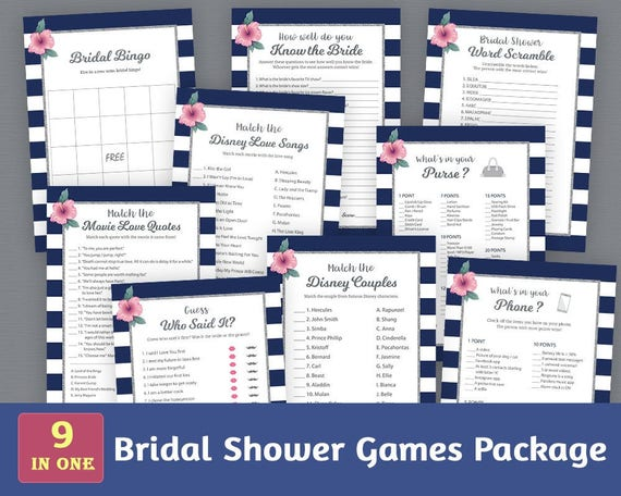 Bridal Shower Games Package Navy Blue White Stripes Bridal Shower Activities Unique Games Pack Shower Bundle Bspkg A019