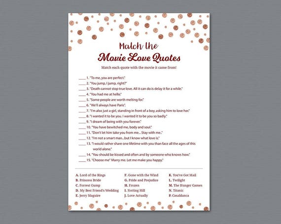 Rose Gold Movie Love Quotes Bridal Shower Games Movie Love Etsy