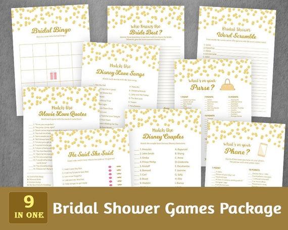 Bridal Shower Games Bundle Set Gold Bridal Games Package Etsy