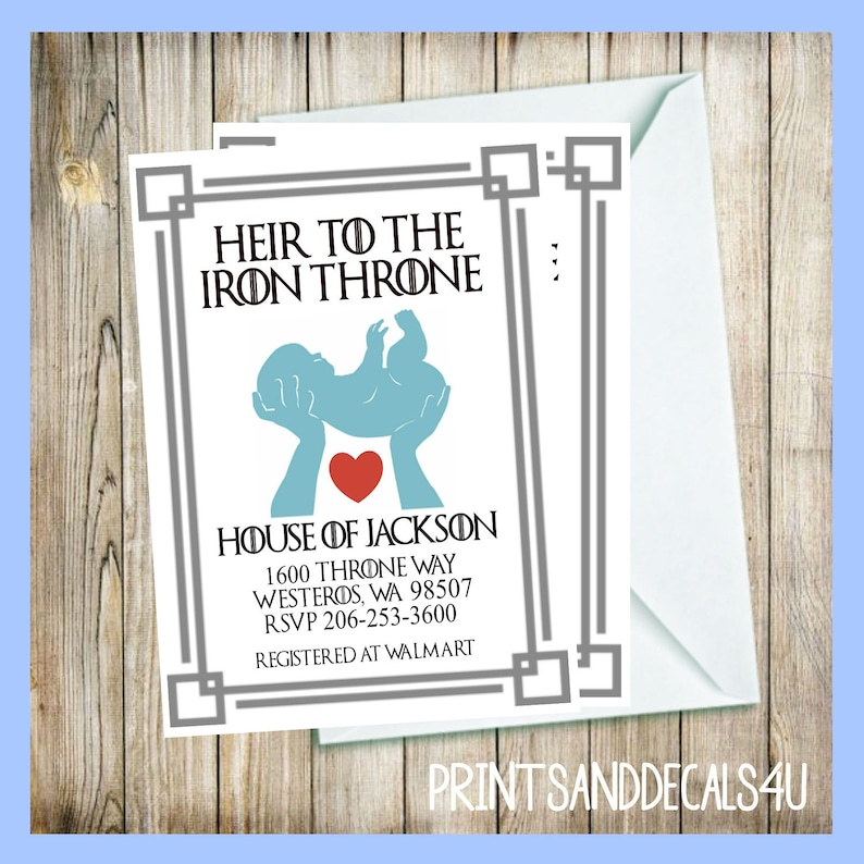 Game of Thrones Baby Boy Announcement Baby Shower Save The Date Heir To The Iron Throne With Red Heart Digital Download DIY