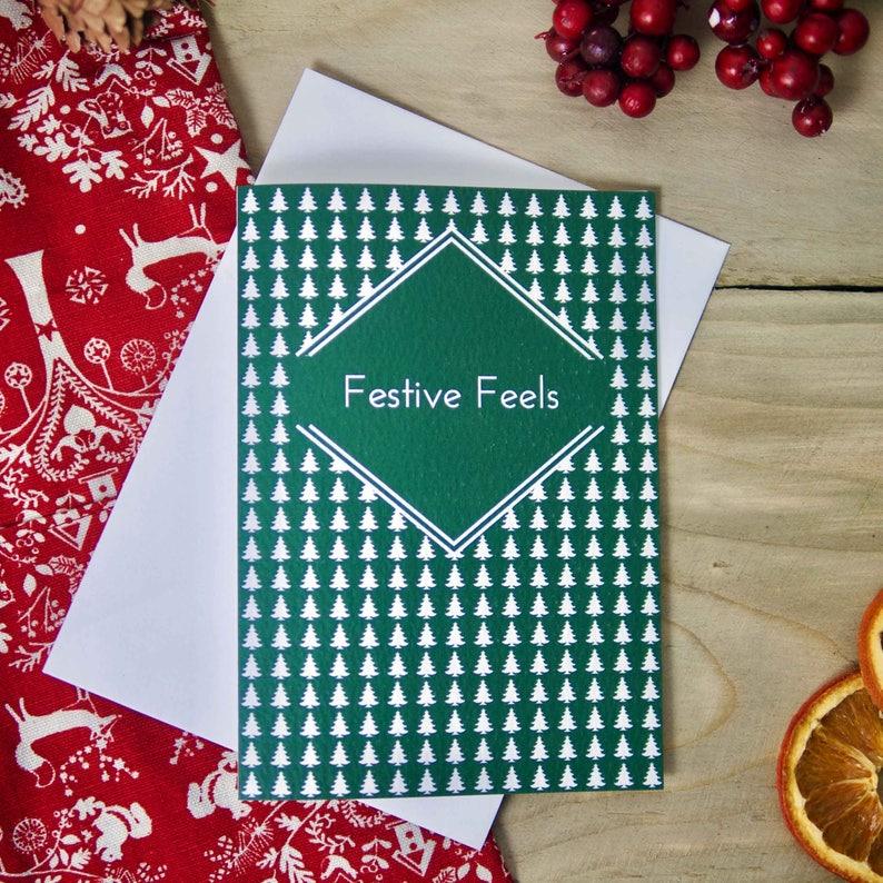 Cool Christmas Card - Festive Feels Christmas Tree Emoji Christmas Card,  Christmas Card, Xmas Cards, Xmas Card