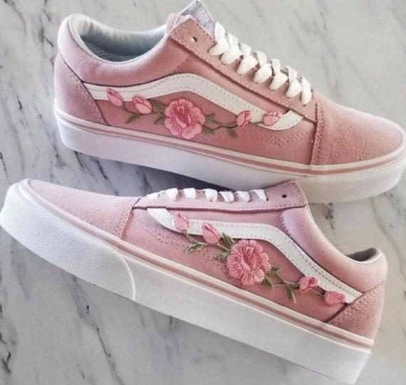 Custom Rose Embroidered Vans rose vans