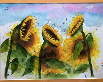 Sunflowers in the Breeze, Water Colors by Artists Jay Wise, M.D