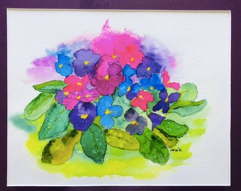 Violets, Water Colors by Artists Jay Wise, M.D