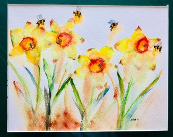 Daffodils. Original Water Colors by Artists Jay Wise, M.D