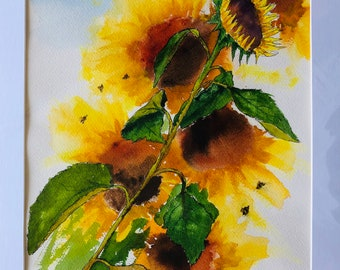 Sunflowers. Original Water Colors by Artists Jay Wise, M.D