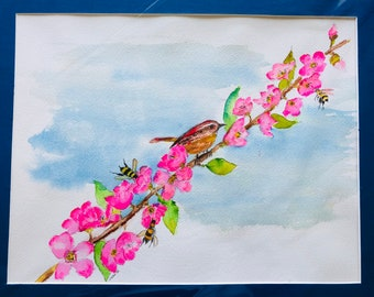 Wren & Peach Blossoms. Original Water Colors by Artists Jay Wise, M.D