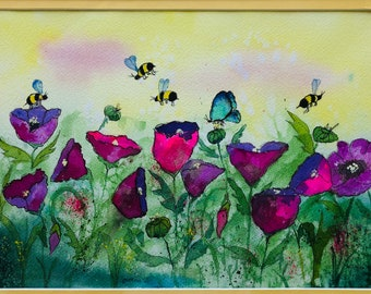 Poppies and bees Original Water Colors by Artists Jay Wise, M.D