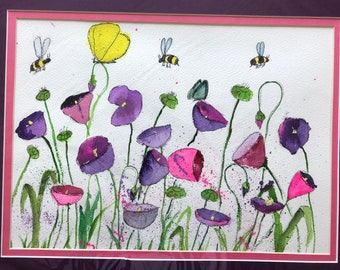 Lavender Poppies. Original Water Colors by Artists Jay Wise, M.D