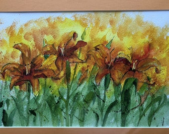 Day Lilies (#1) Water Colors by Artists Jay Wise, M.D