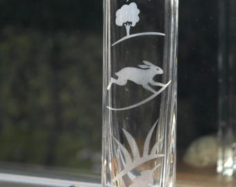 Hand Etched Bud Vase - Hare