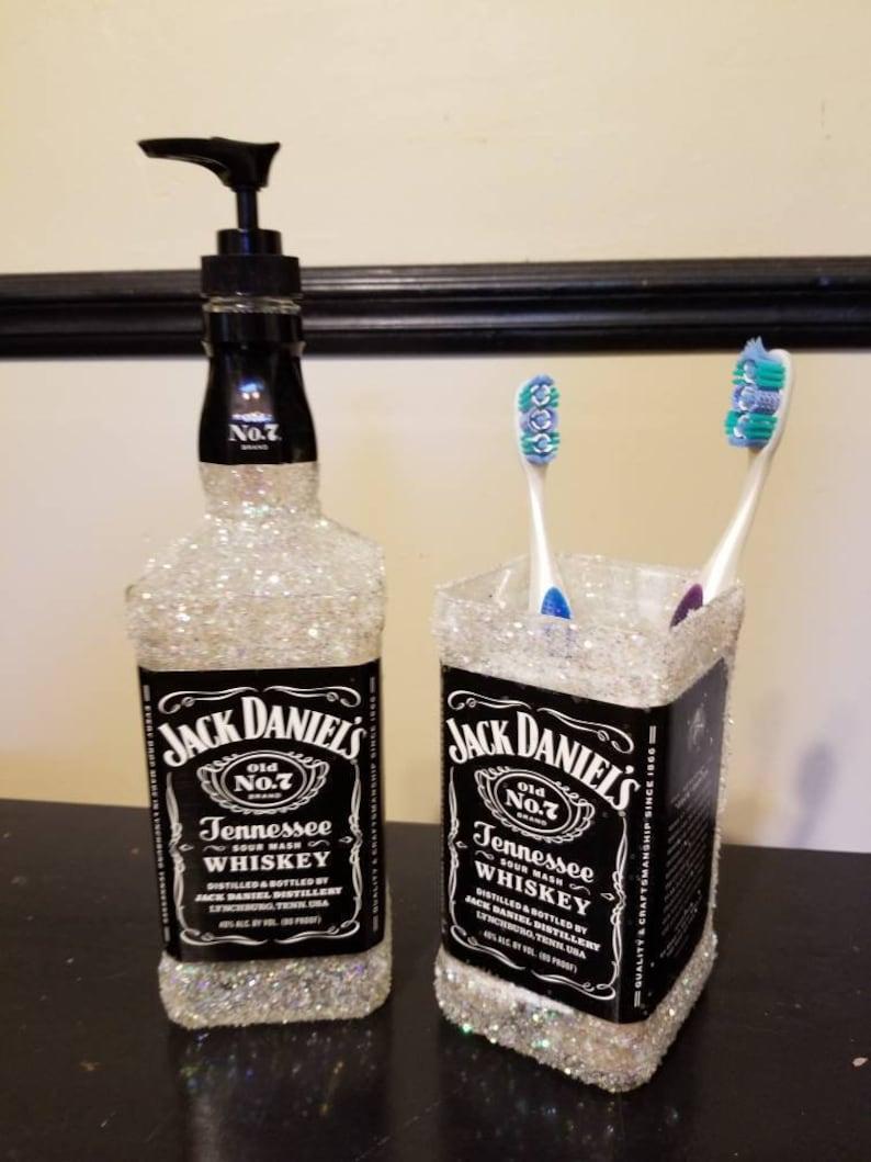 Jack Daniels Liquor Bottle Soap Dispenser Toothbrush Holder Disco Blue Pink Green Red Glitter Bathroom Decor