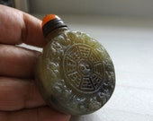 OLD JADE SNUFF Bottle Chinese Zodiac Yin Yang, Orange Agate Brass Lid w Spoon, Rare, Unusual, Unique, One of a Kind