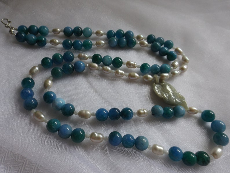 Necklace. JADE FISH PENDANT Blue and Green Apatite Beads Silvery Freshwater Pearls White Glass Faceted Beads