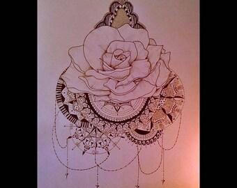 Pink mandala drawing unique