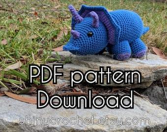 Triceratops Plushy Crochet Toy Pattern, dinosaur toy pattern, adventurous beginner PDF tutorial, Herp Derp the triceratops