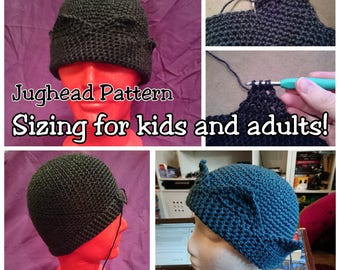 Jughead Hat Crochet Pattern, Whoopee Cap, Jughead Beanie Crochet Pattern