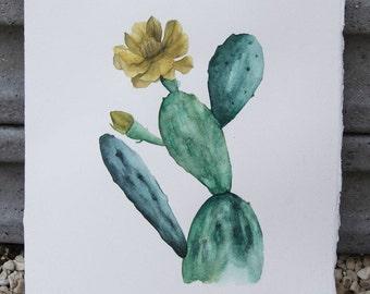 Prickly Pear Cactus - Original watercolor painting