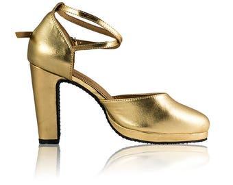 f1b66b75c29 Gold Leather Samba dance shoes