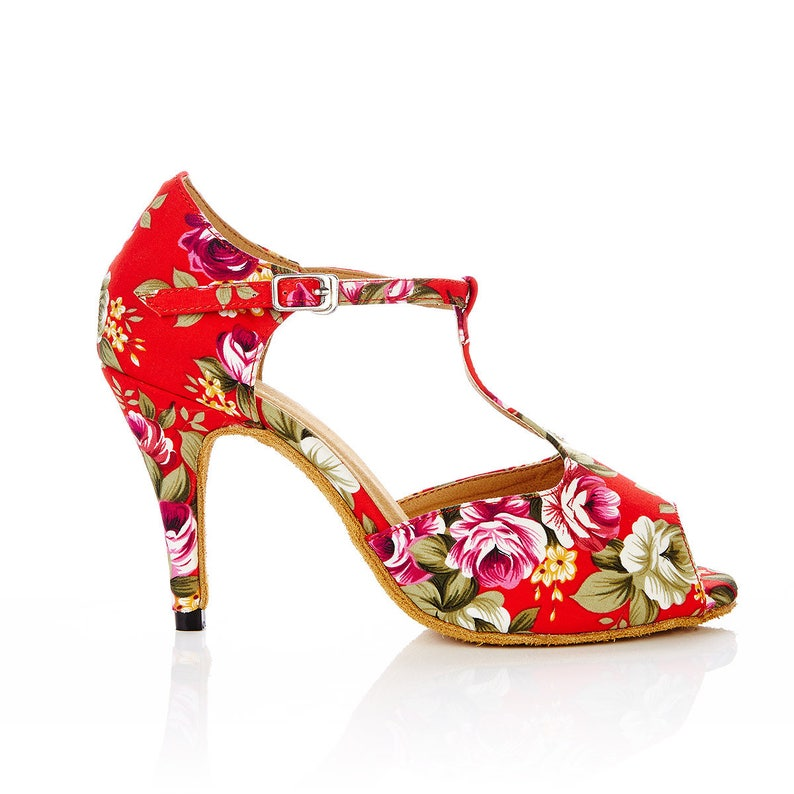 5935e236be20 CLEARANCE Red floral ladies dance and bridal shoes