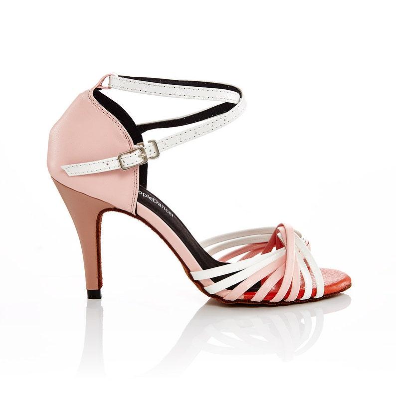 f6f7946694 Różowe i białe skóry Latin   Bridal Buty taneczne buty do