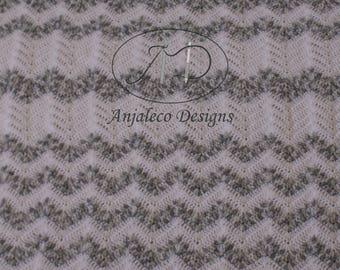 Crochet - Blanket - Chevron design - Grey, White