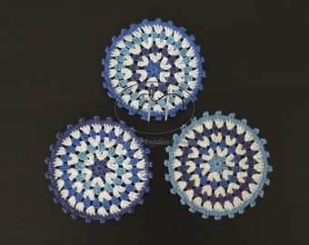 Three Coasters - Blue & White