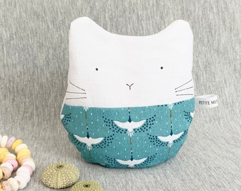 Small hot water bottle dry cat removable, light blue birds cranes, 13cm for baby and small bobos
