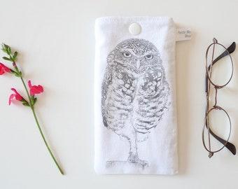 This sunglasses case padded - OWL bird drawing - 17 x 9 cm