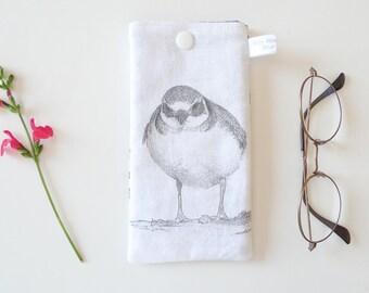 This sunglasses case padded - design bird gravelot - 17 x 9 cm
