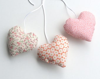 Pink 3 hearts hanging decoration, filled with batting, decorative hearts