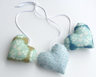 teal 3 hearts hanging decoration, filled with batting, decorative hearts
