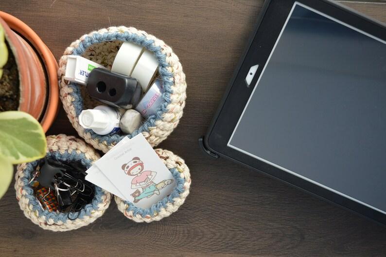 Set of 3 Crochet Goldilocks Baskets for Home image 0