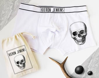 d91e89975d Skull Print Boxers, Personalised Men's Boxer Shorts, Mens Pants,  Personalized Gift, Skull Print, Skeleton, Gift for Him