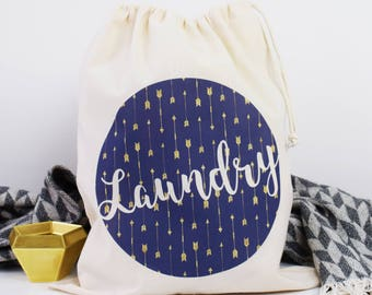 Home And Travel Laundry Bag, Little arrows, Drawcord Cotton Bag, Kids Room Storage Bag, 100% Cotton
