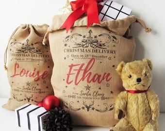 Personalised Burlap Christmas Sack, Hessian fabric Sack, Santa Sack, Christmas Stocking, Red personalise, Child Xmas, Personalize jute Gift