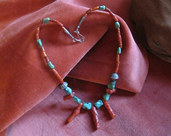 Southwest Necklace, Coral and Turquoise Necklace, Southwest Jewelry, Choker Necklace