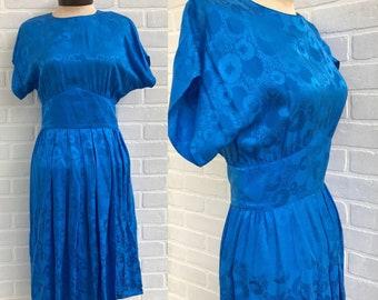 Lauren Alexandra Dress 100 Percent Silk. Blue Sun Dress Vintage Silk Blue Dress