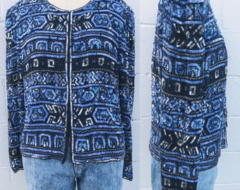 7b101a23a2102 Vintage Beaded 80s Sequin Top. Blue Silk Beaded Cardigan Top. Beaded Adrianna  Papell Blazer. Glam. Sequin Beaded Jacket.