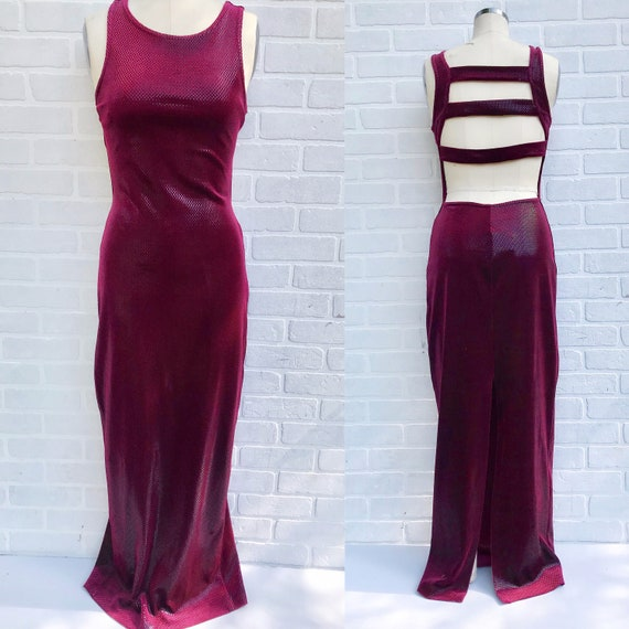 Vintage Vibrant Maroon Maxi Gown. Evening Gown. Ro