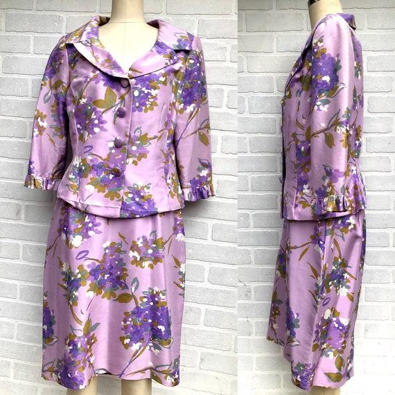 Vintage Maggie London Lavender Floral Suit. Silk F