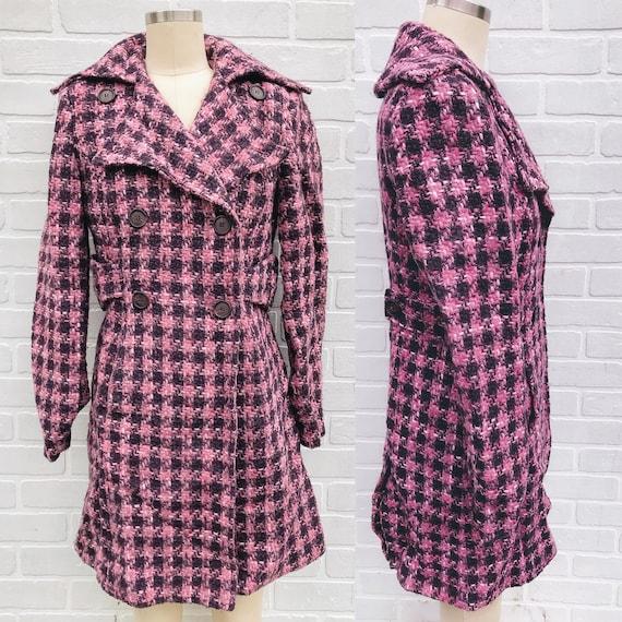 Vintage Pink Wool Coat. Patterned Pink Trench Coat