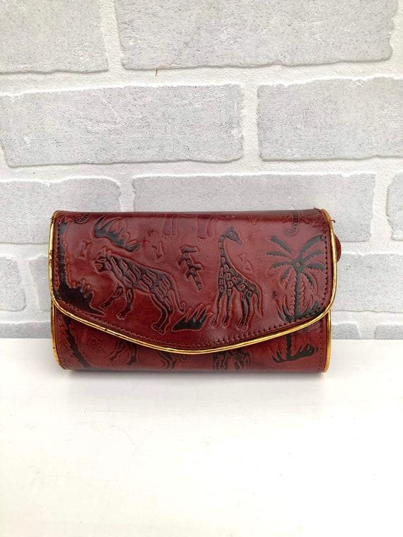Vintage Etched Safari Leather Shoulder Bag. Tooled