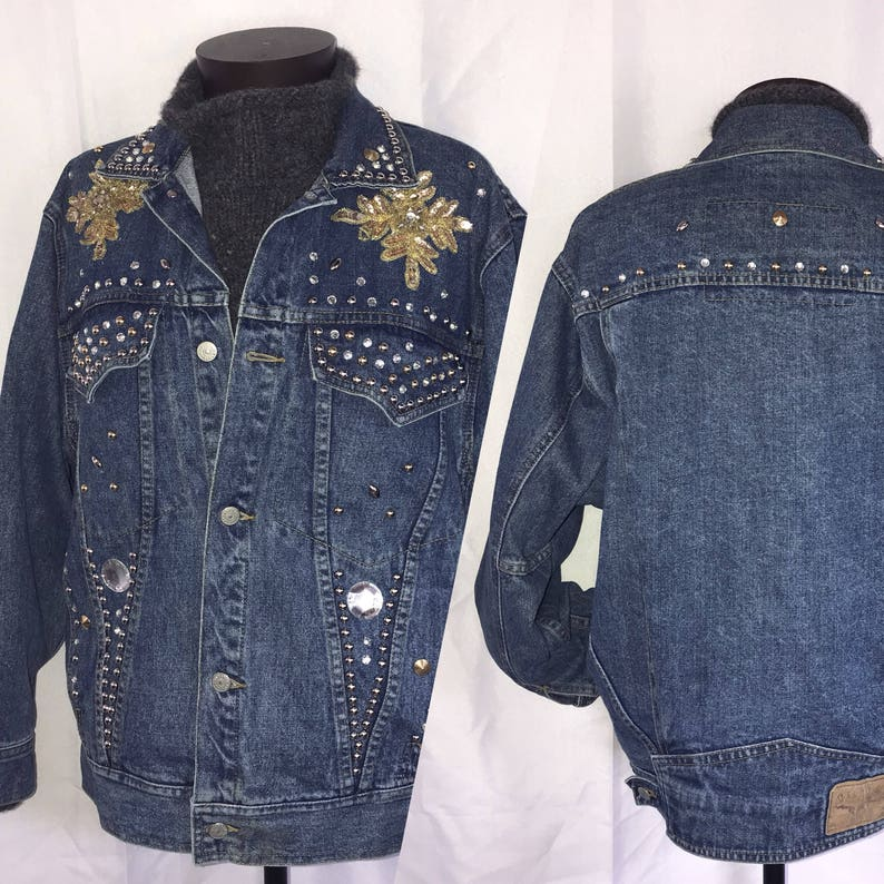 fe0ad021f20 Vintage Denim Jacket. Denim Studded Sequin Jacket. Freego. 80s